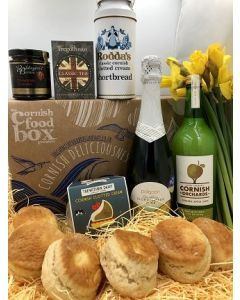 Cornish Cream Tea Box & Elderflower Sparkling Wine